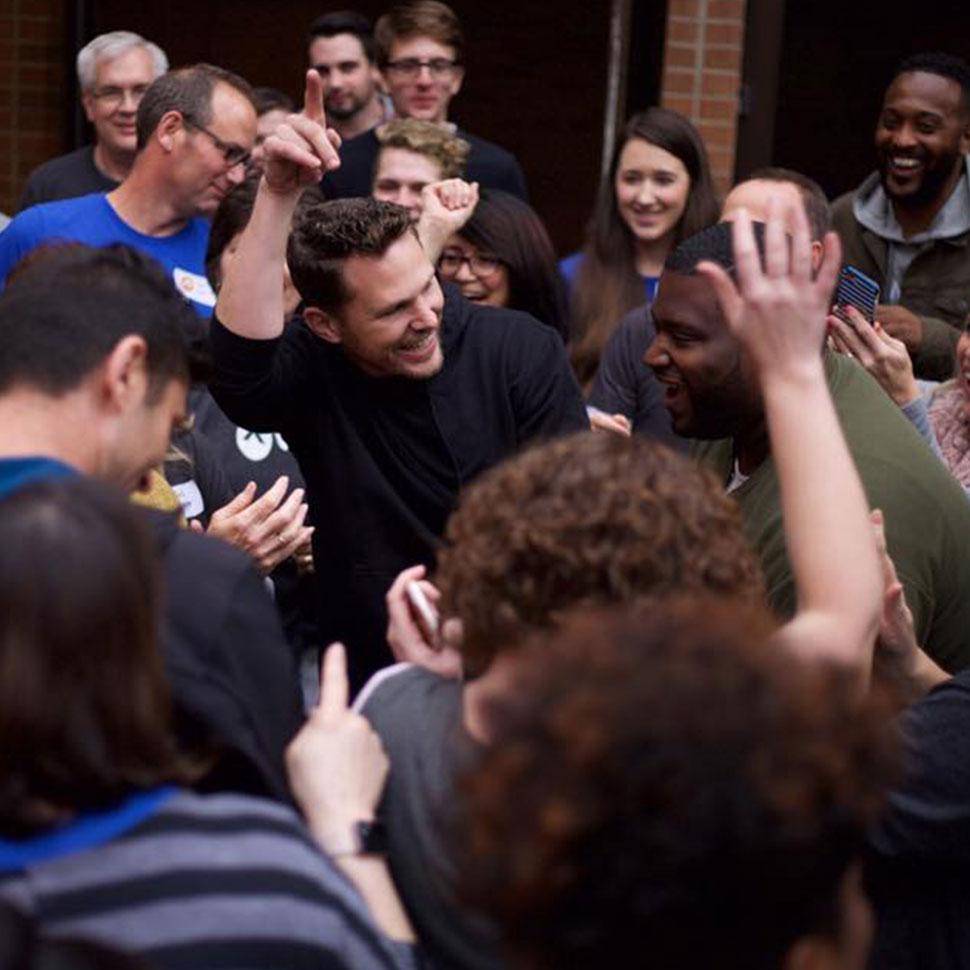 School of Divinity student Kedrick Clark worships with Elevation Winston-Salem