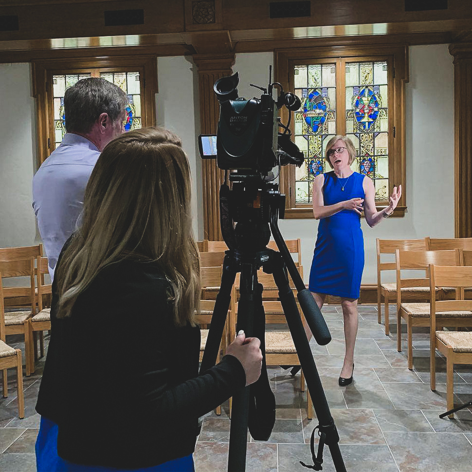 School of Divinity professor Katherine Shaner is interviewed by FOX8 New's anchor Bob Buckley, April 2019