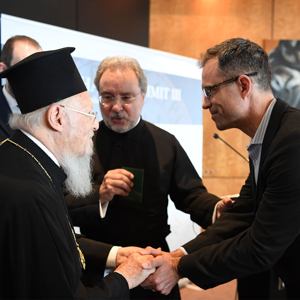 School of Divinity professor Fred Bahnson meets His All-Holiness Ecumenical Patriarch Bartholomew during the Halki Summit III, June 2019