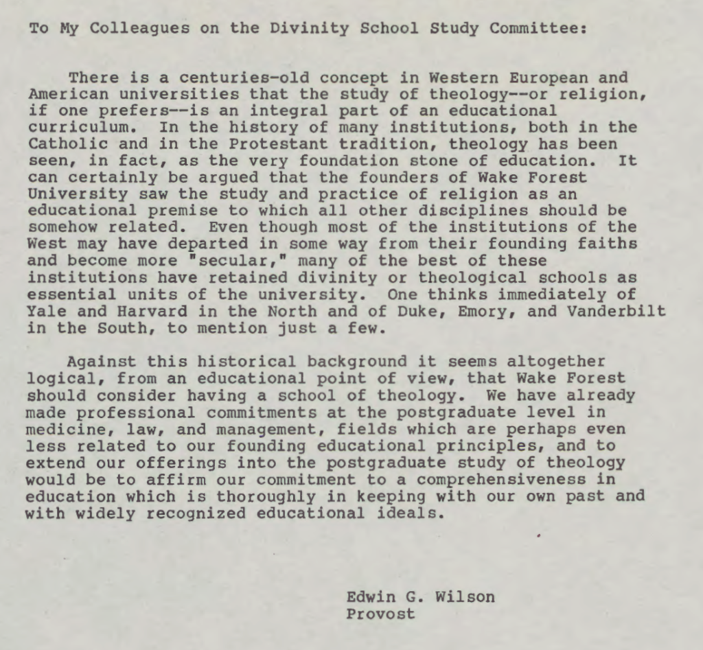 "Thumbnail of memo by Wilson, Edwin G. ""To My Colleagues on the Divinity School Study Committee."" Special Collections & Archives (ZSR Library), Wake Forest University."