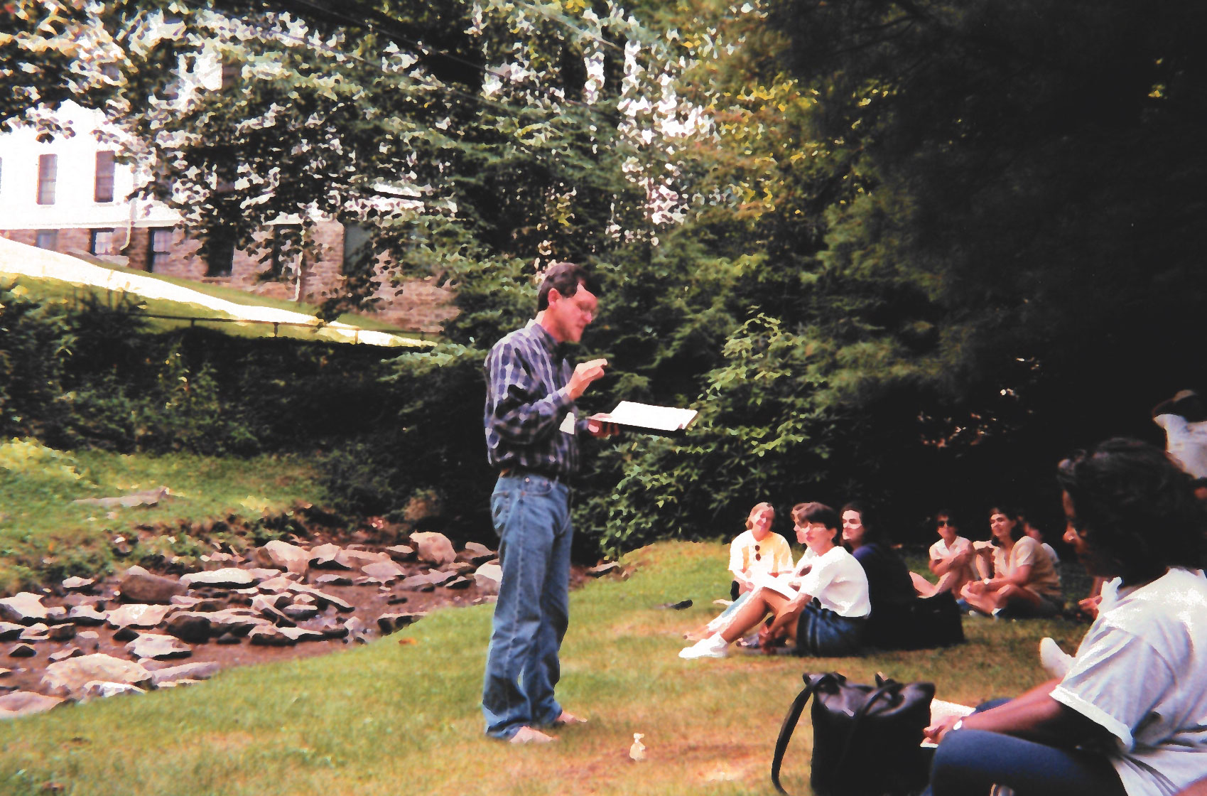 Founding Dean Bill J. Leonard speaks to the School of Divinity community during a retreat in 1999.