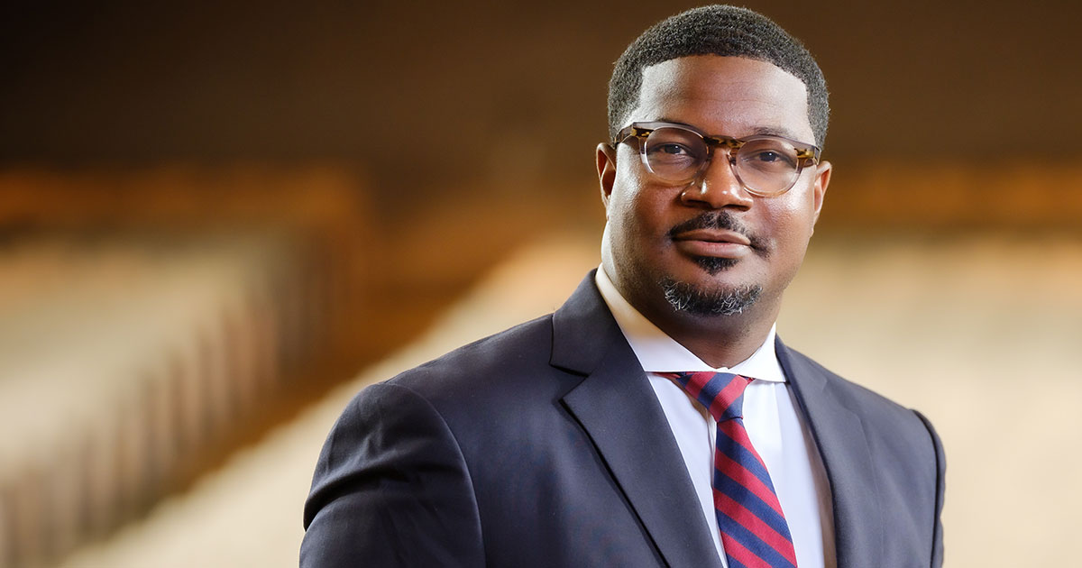 Wake Forest School of Divinity Dean Jonathan L. Walton poses in Wait Chapel on Wednesday, August 7, 2019.