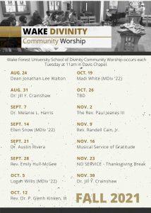 Fall 2021 Worship Schedule