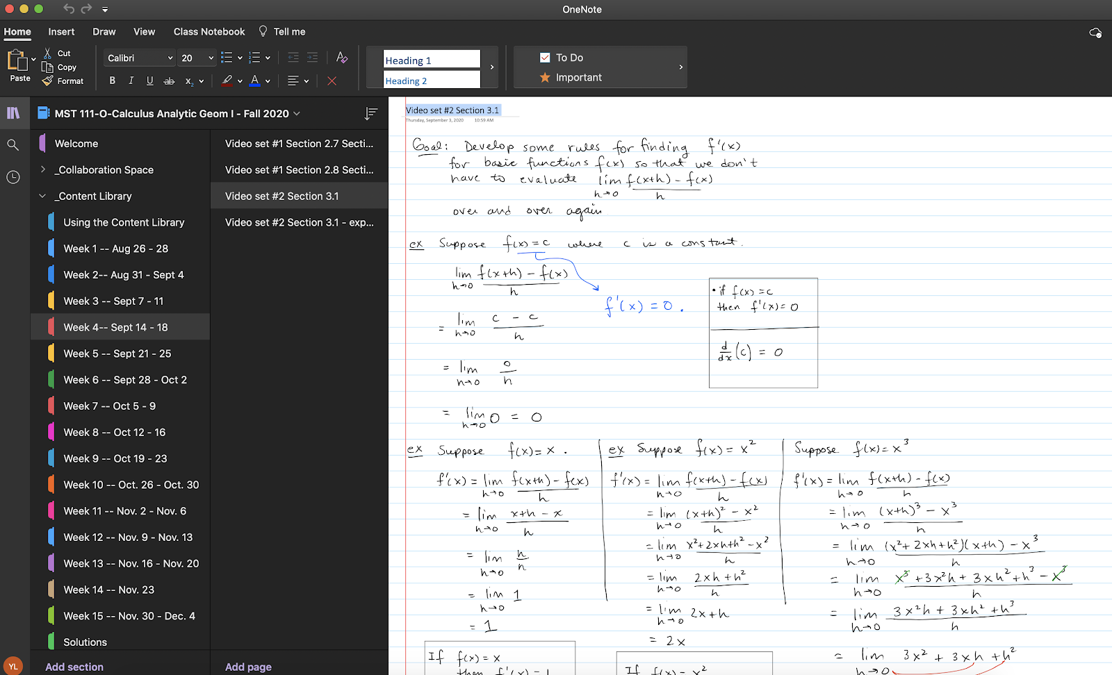 screenshot of OneNote instructor content library