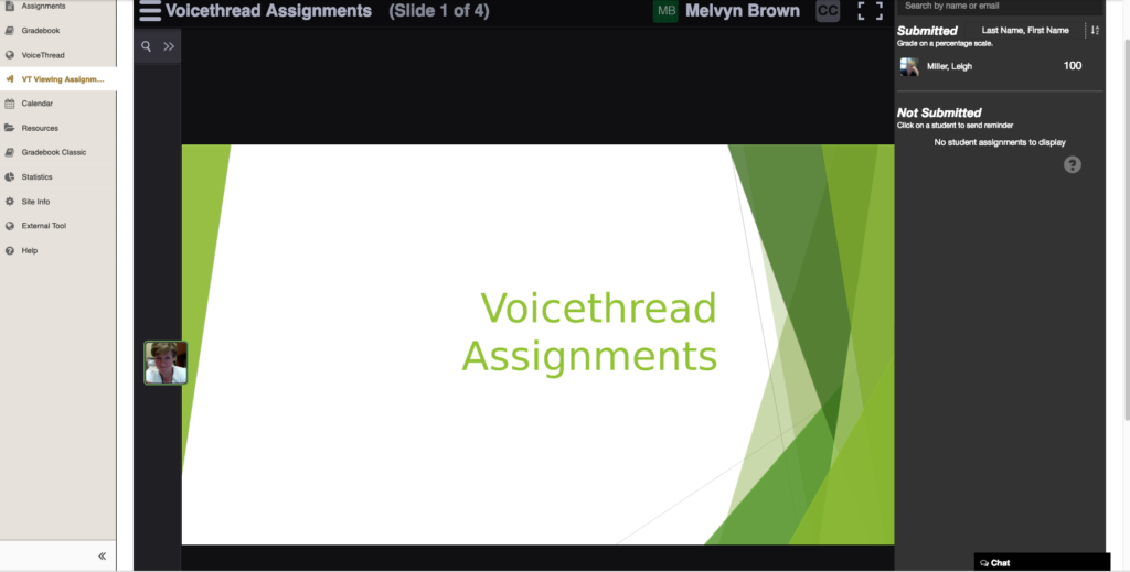 A screenshot of a VoiceThread viewing assignment.