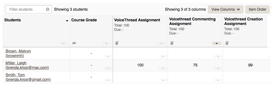 The gradebook in Sakai showing a grade automatically important from a VoiceThread Assignment