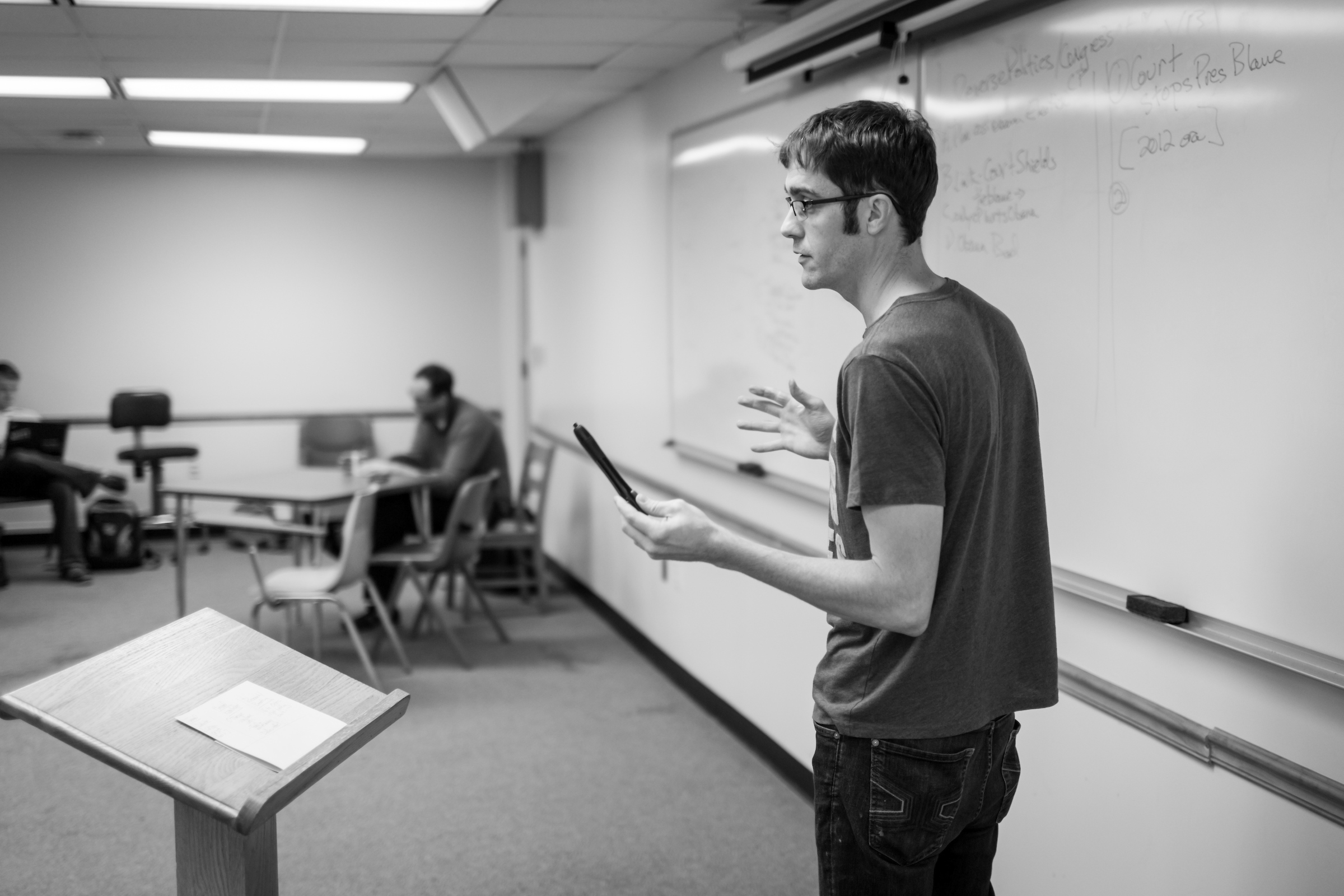 The Wake Forest debate team holds their weekly meeting in Carswell Hall on Wednesday, October 24, 2012.