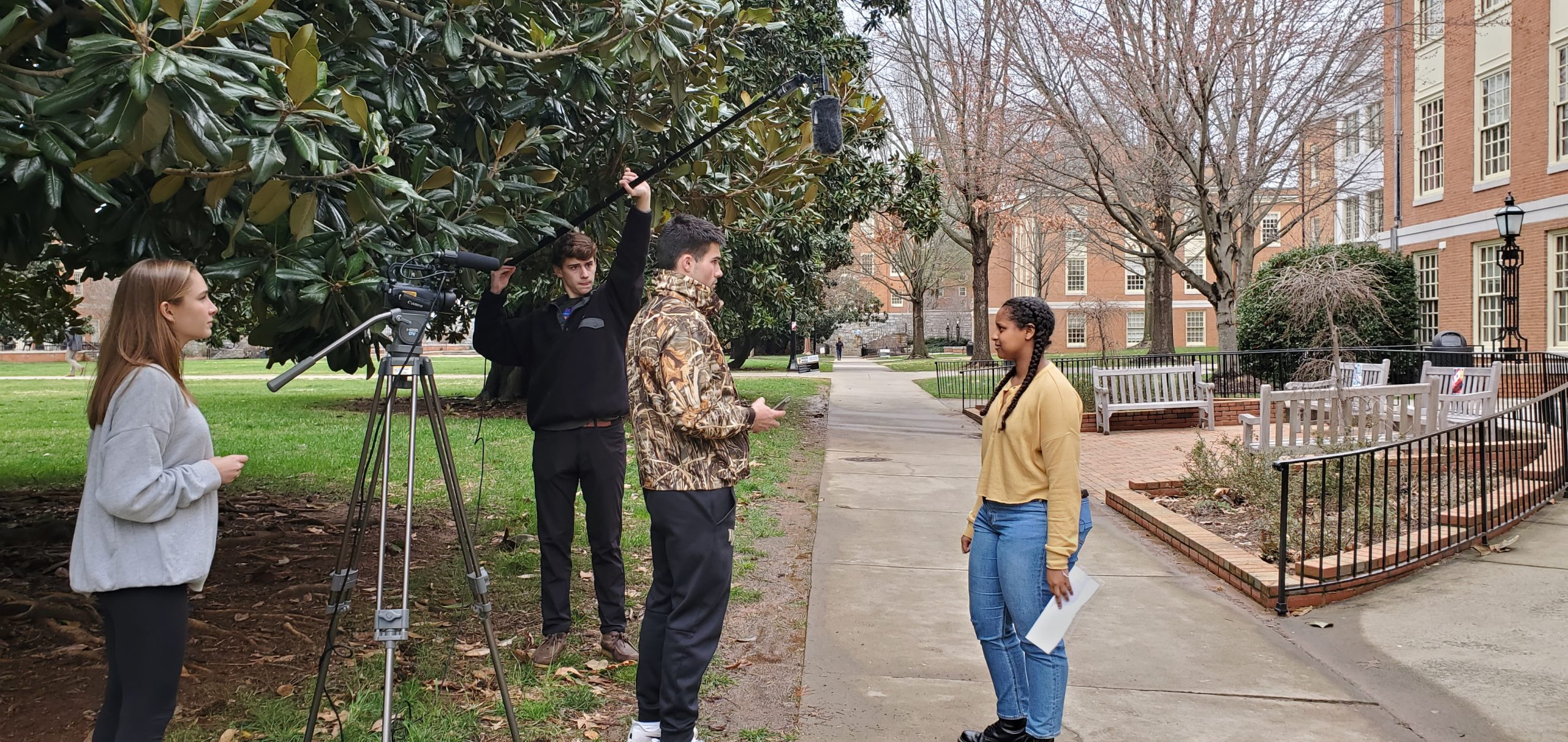 Students Preparing to film on the quad at WFU
