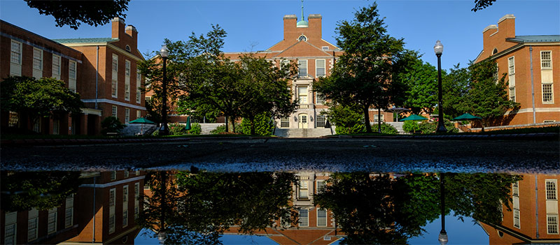 The Z. Smith Reynolds Library is reflected in a puddle
