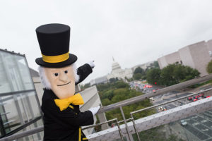The Demon Deacon poses in front of the U.S. Capitol