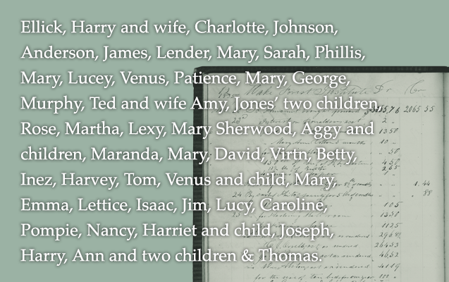 Ellick, Harry and wife, Charlotte, Johnson, Anderson, James, Lender, Mary, Sarah, Phillis, Mary, Lucey, Venus, Patience, Mary, George, Murphy, Ted and wife Amy Jones' two children, Rose, Martha, Lexy, Mary Sherwood, Aggy and children, Maranda, Mary, David, Virtn, Betty, Inez, Harvey, Tom, Venus and child, Mary, Emma, Lettice, Isaac, Jim, Lucy, Caroline, Pompie, Nancy, Harriet and child, Joseph, Harry, Ann and two children, & Thomas.