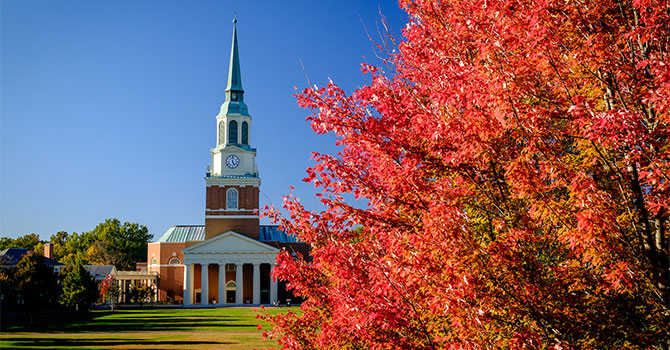 Wake Forest students enjoy crisp fall weather as they walk across campus