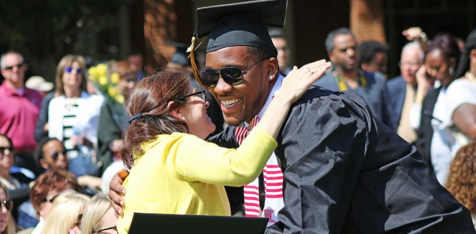 WFU student at Commencement