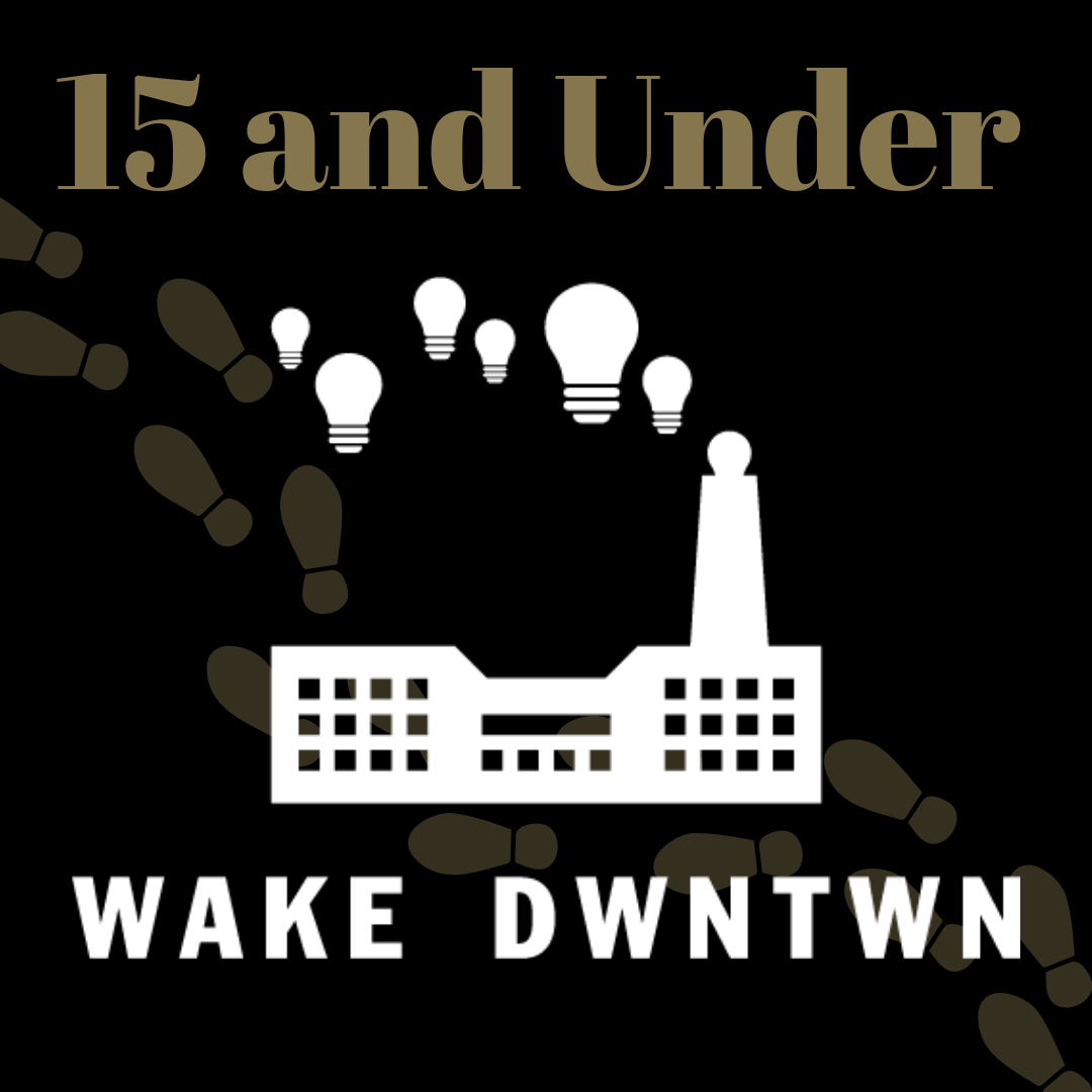 15 & Under Graphic, Wake Downtown Outline footsteps behind