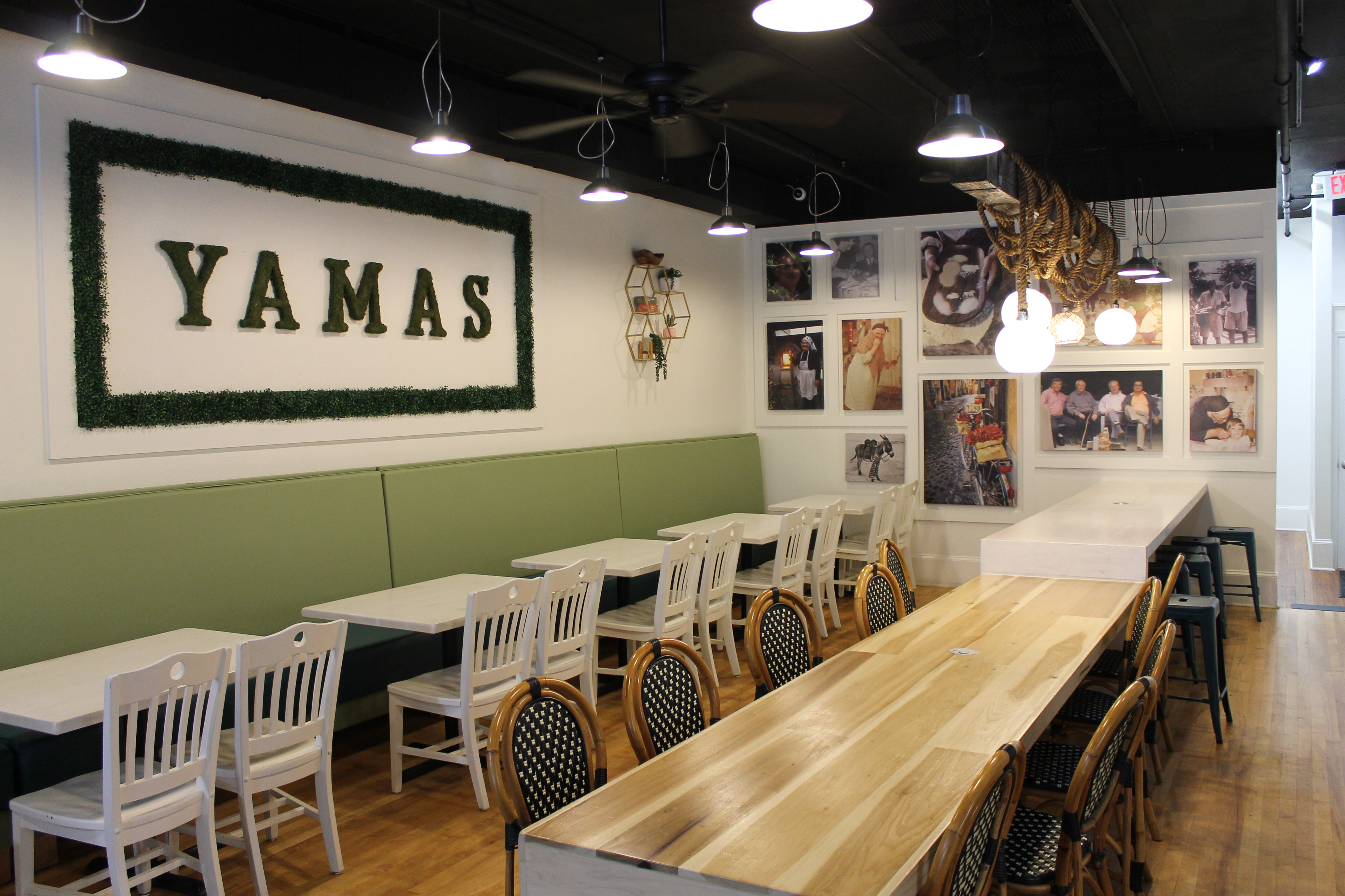 seating in Yamas, green, white, and wood