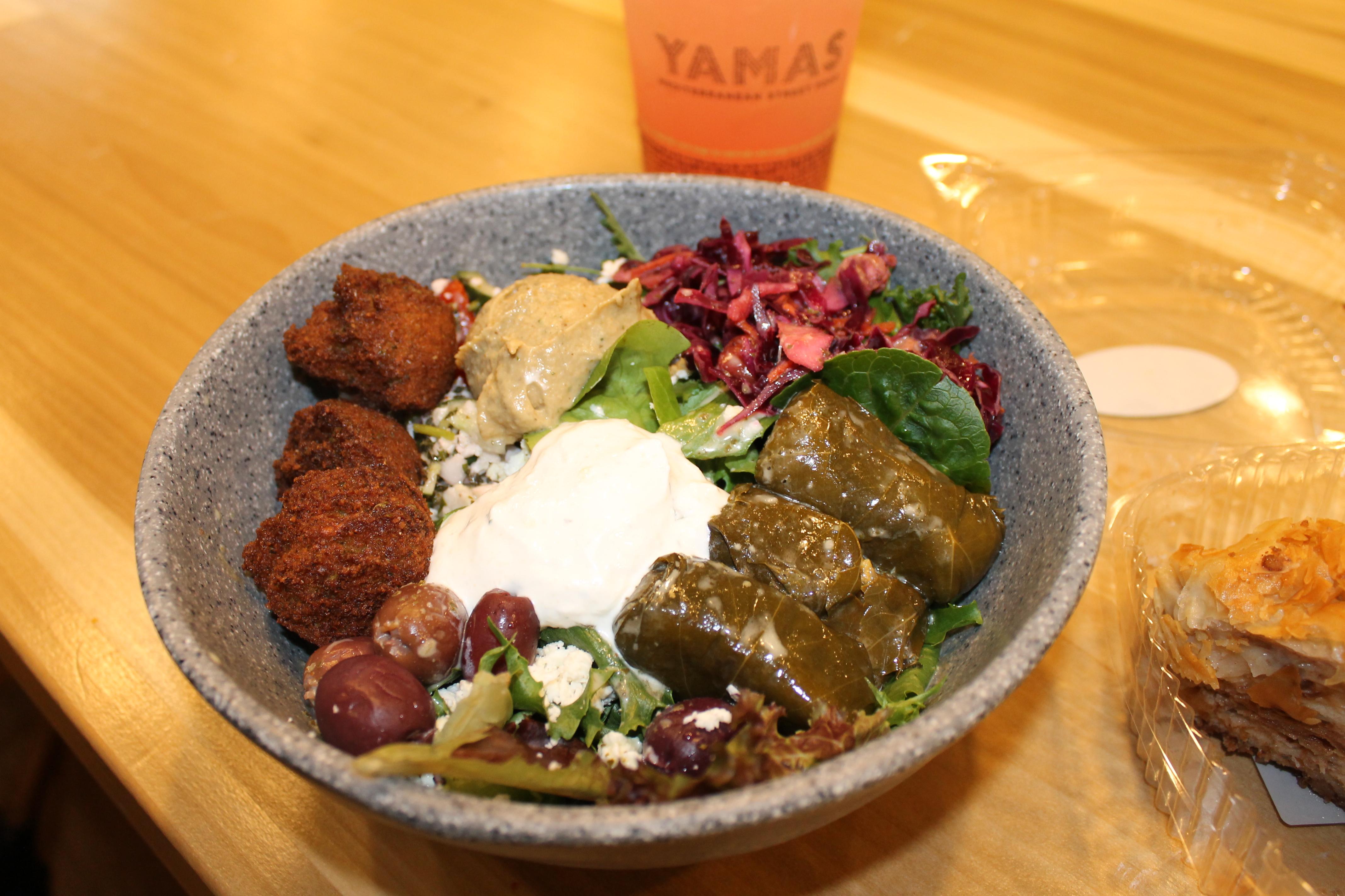 Vegetarian lentil bowl with falafel