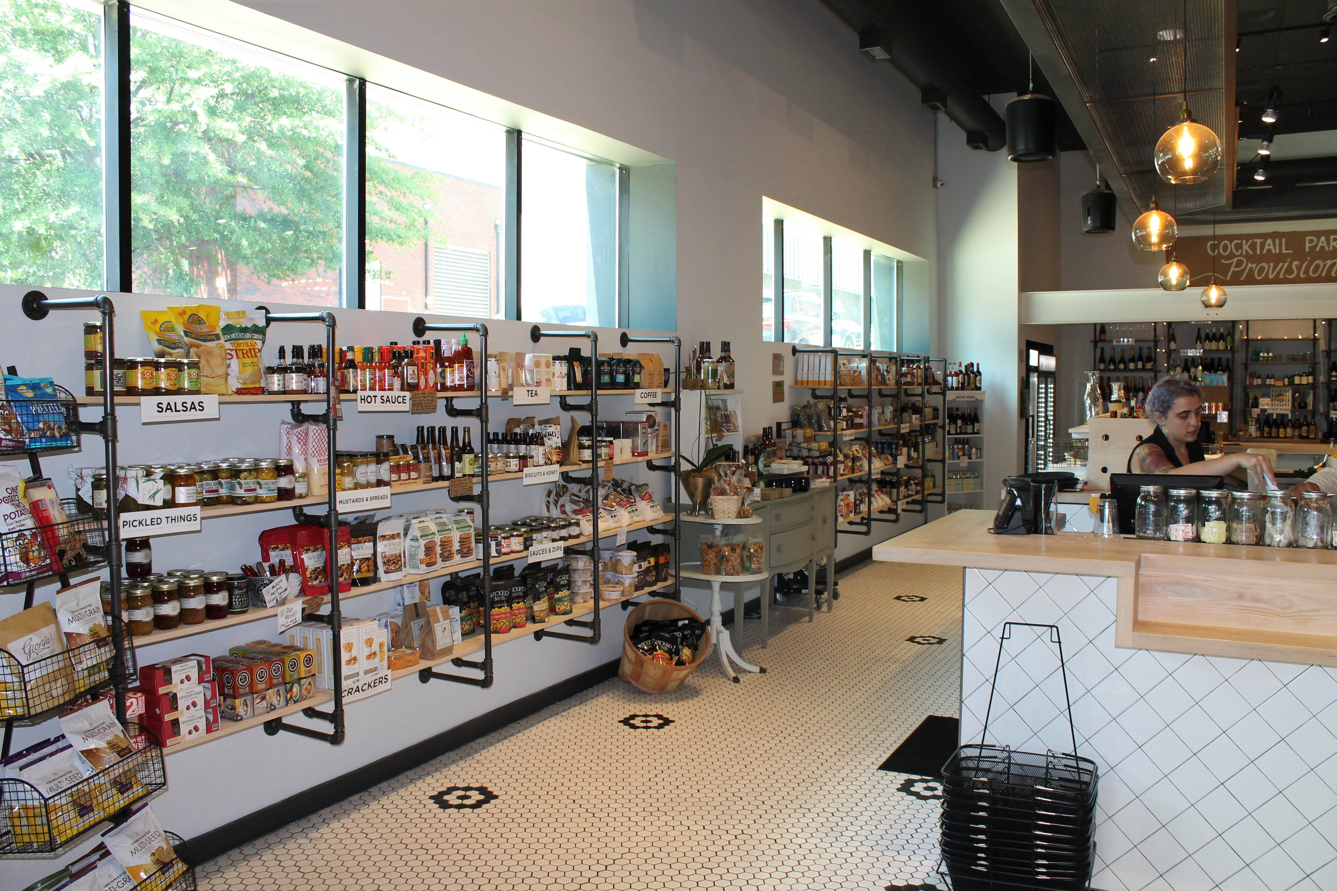 Shelving in Canteen Market with curated food products