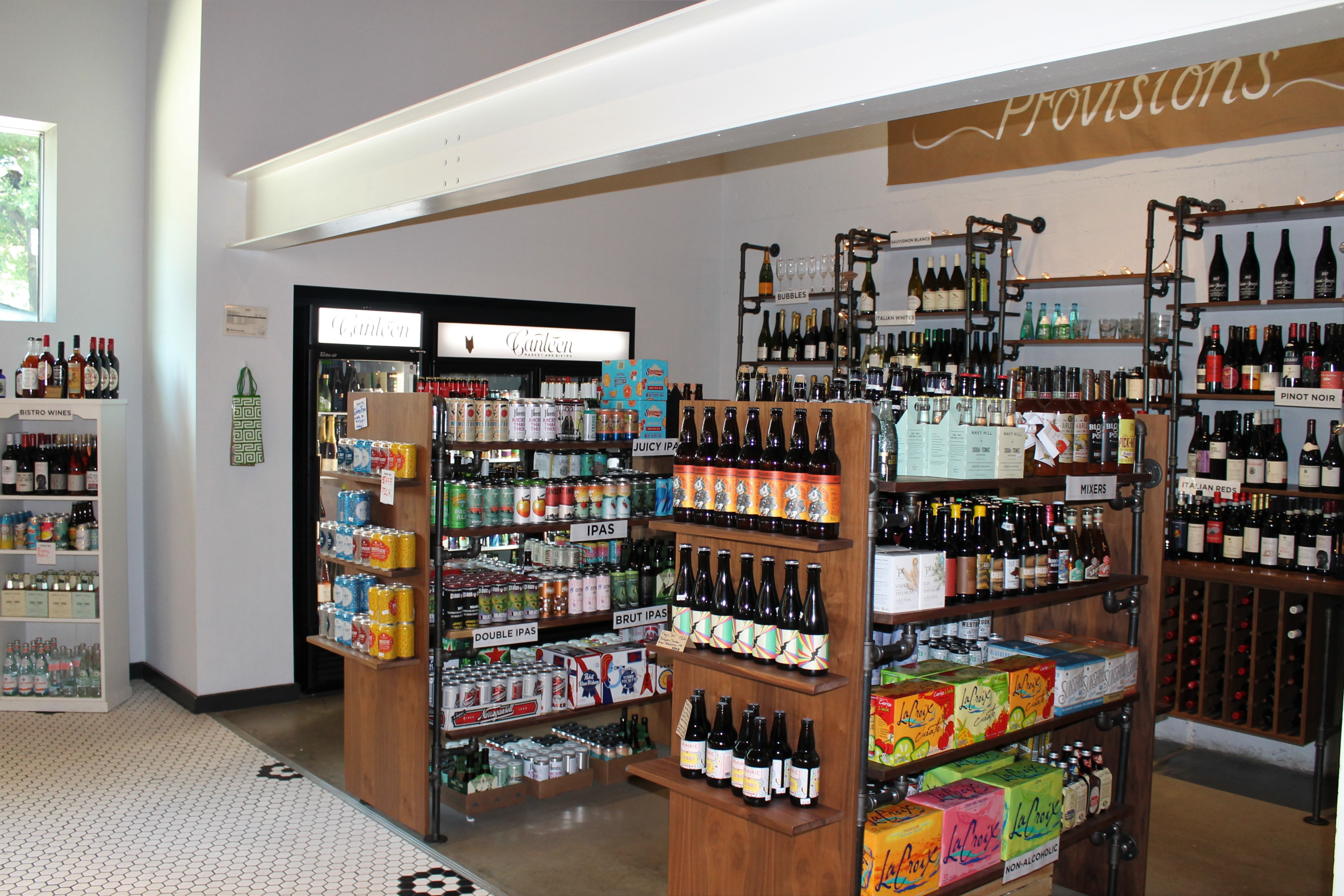 Wine and Beer selection inside canteen market