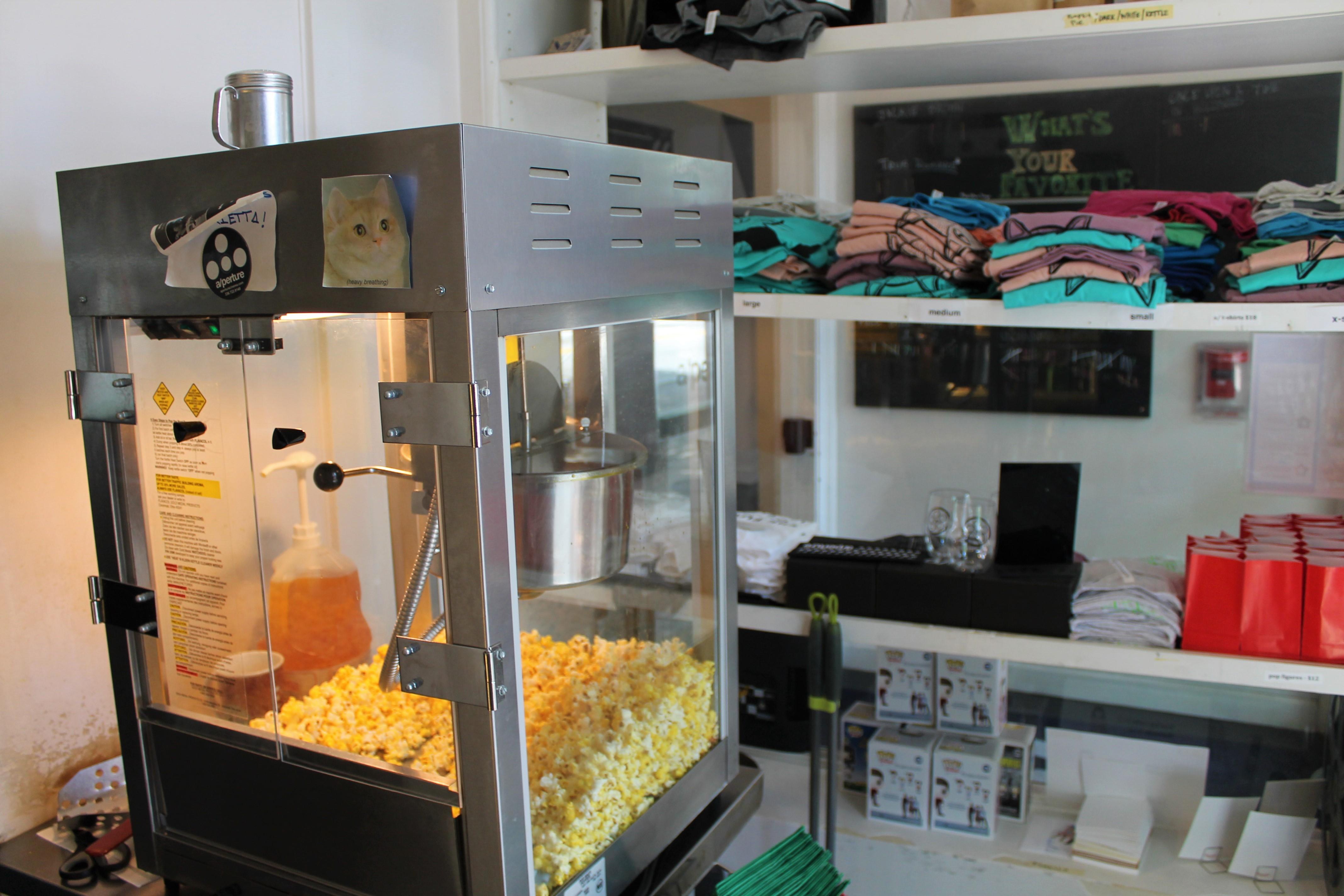 popcorn machine and merchandise