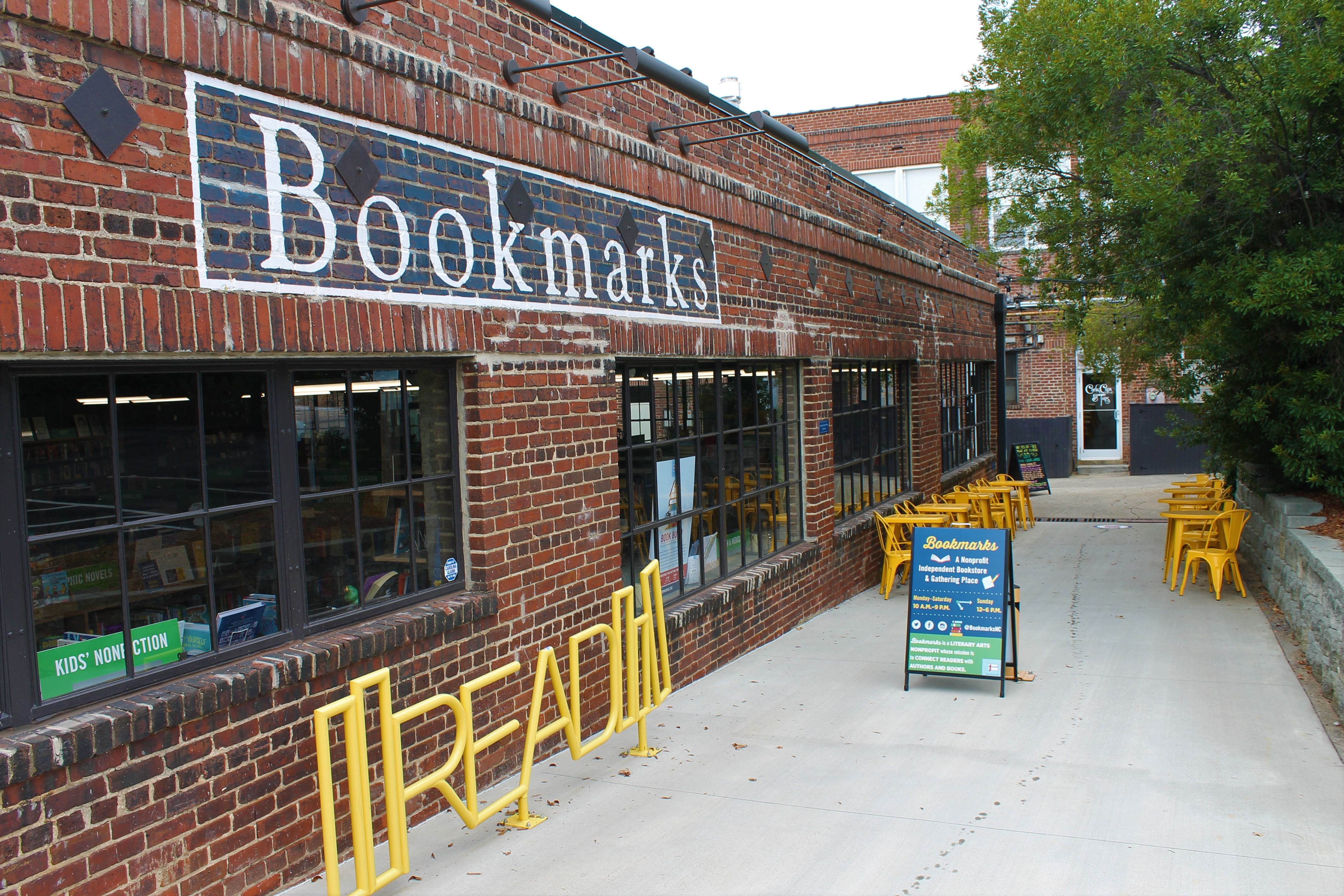 exterior of bookmarks outdoor seating