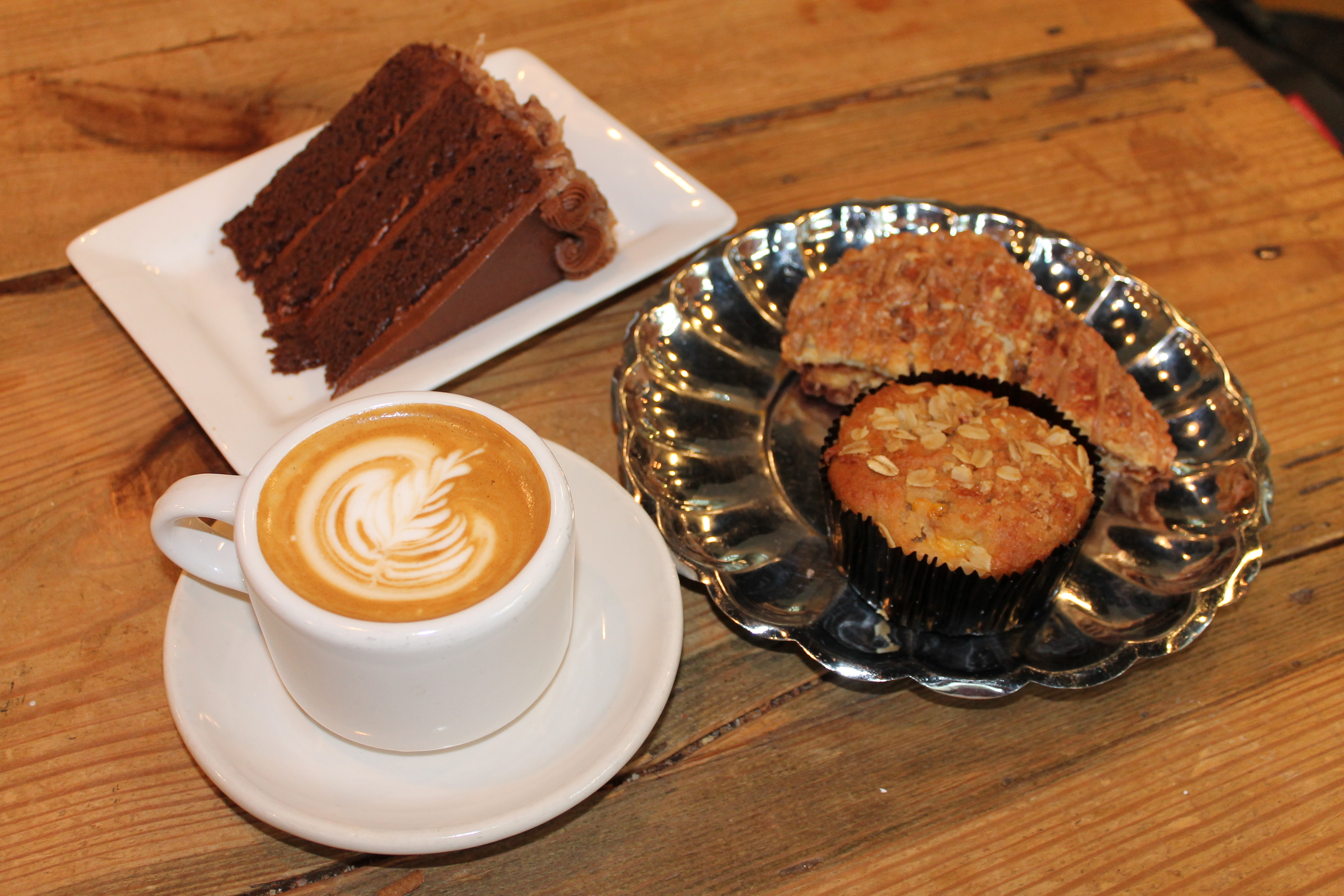 chocolate cake, muffin, cappuccino, cinnamon crumble cake
