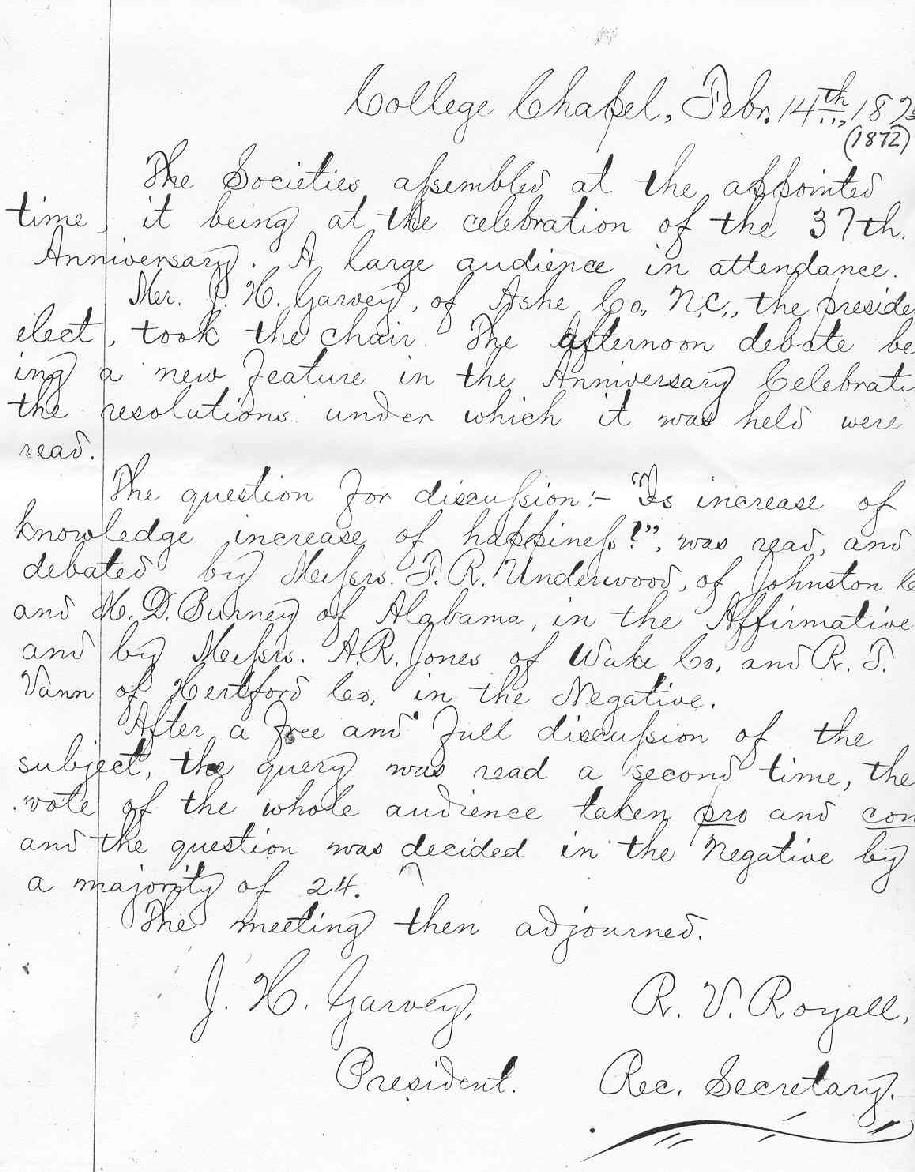1872AnniversaryDebatesMinutes