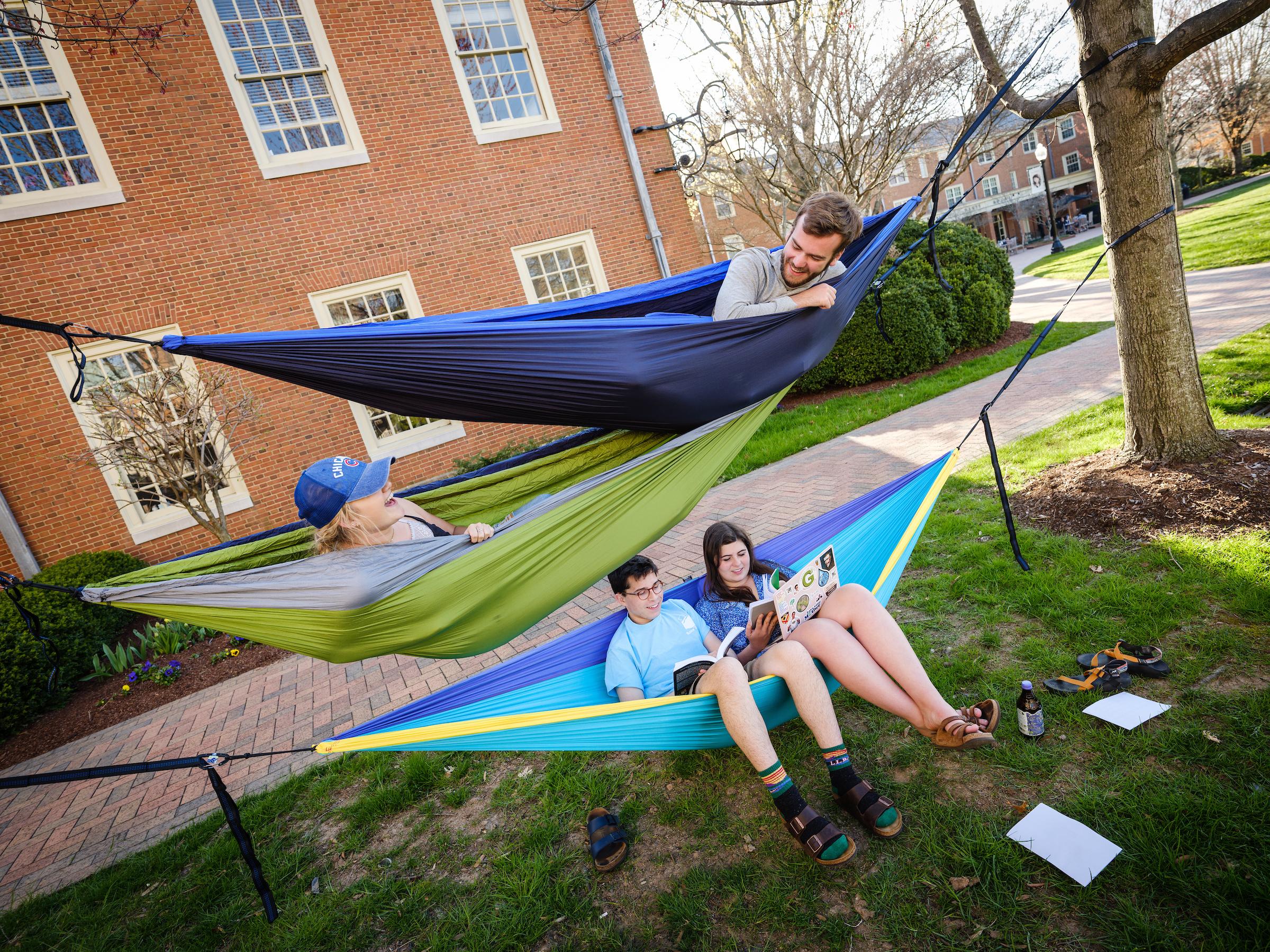 students in a hammock outside