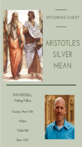 "Dan Russell public talk flyer ""Aristotle's Silver Mean"""