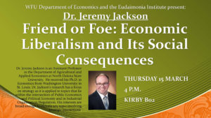 "Jeremy Jackson public talk flyer ""Friend or Foe"""