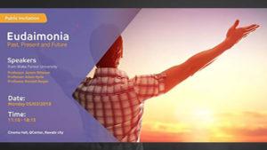 "Rawabi Palestine flyer for ""Eudaimonia, Past, Present and Future"""