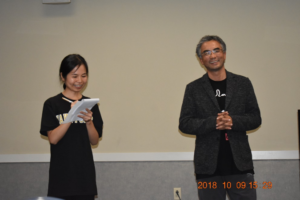 ITS graduate student Wanqun Zhang interprets for Mr. Pema Tseden at USC Upstate on Oct 9th, 2018