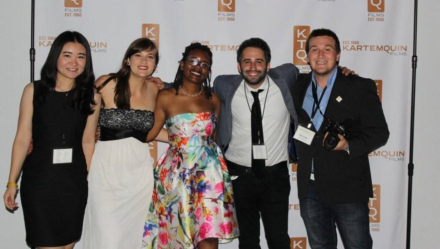 Wei Ying (first on left) with fellow interns at Kartemquin's 50th Anniversary gala.
