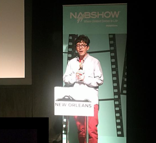 John Gallen (MFA '17) delivers a winning pitch at the New Orleans International Film Festival.