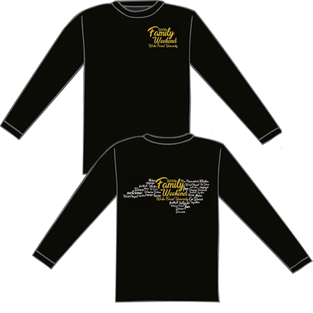 WFU Family Weekend Longsleeve Tee, black, 100% cotton