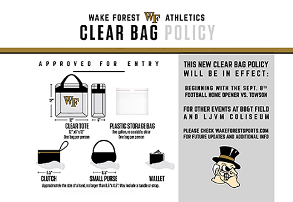 WFU Clear Bag Policy for Home Football Games at BB&T Field