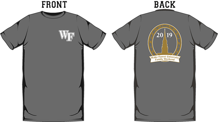 Family Weekend tees are available in Hanes Nano Short Sleeve and Hanes Tagless Long Sleeve, Slate Gray, Pre-order before October 6