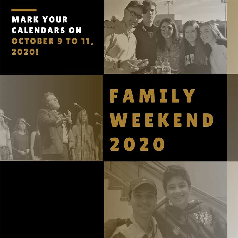 Family Weekend 2020 October 9-11, graphic of happy families