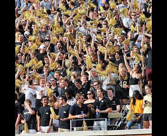 Wake students cheer at at a Demon Deacons football game