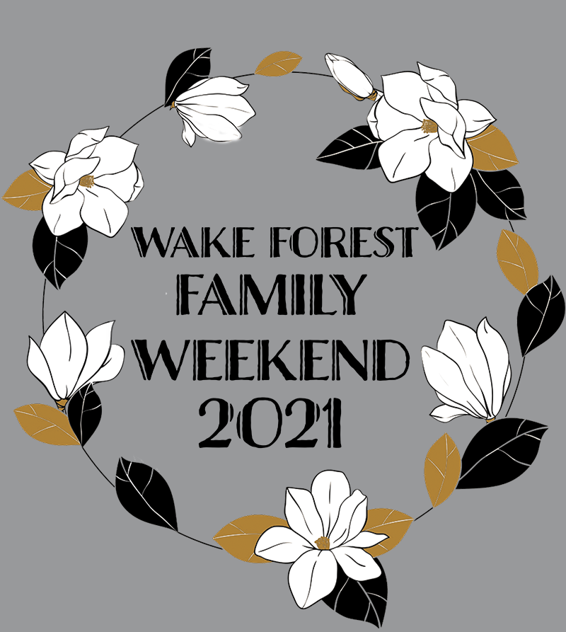 Back of shirt design for Family Weekend 2021 shows a circle of magnolia flowers
