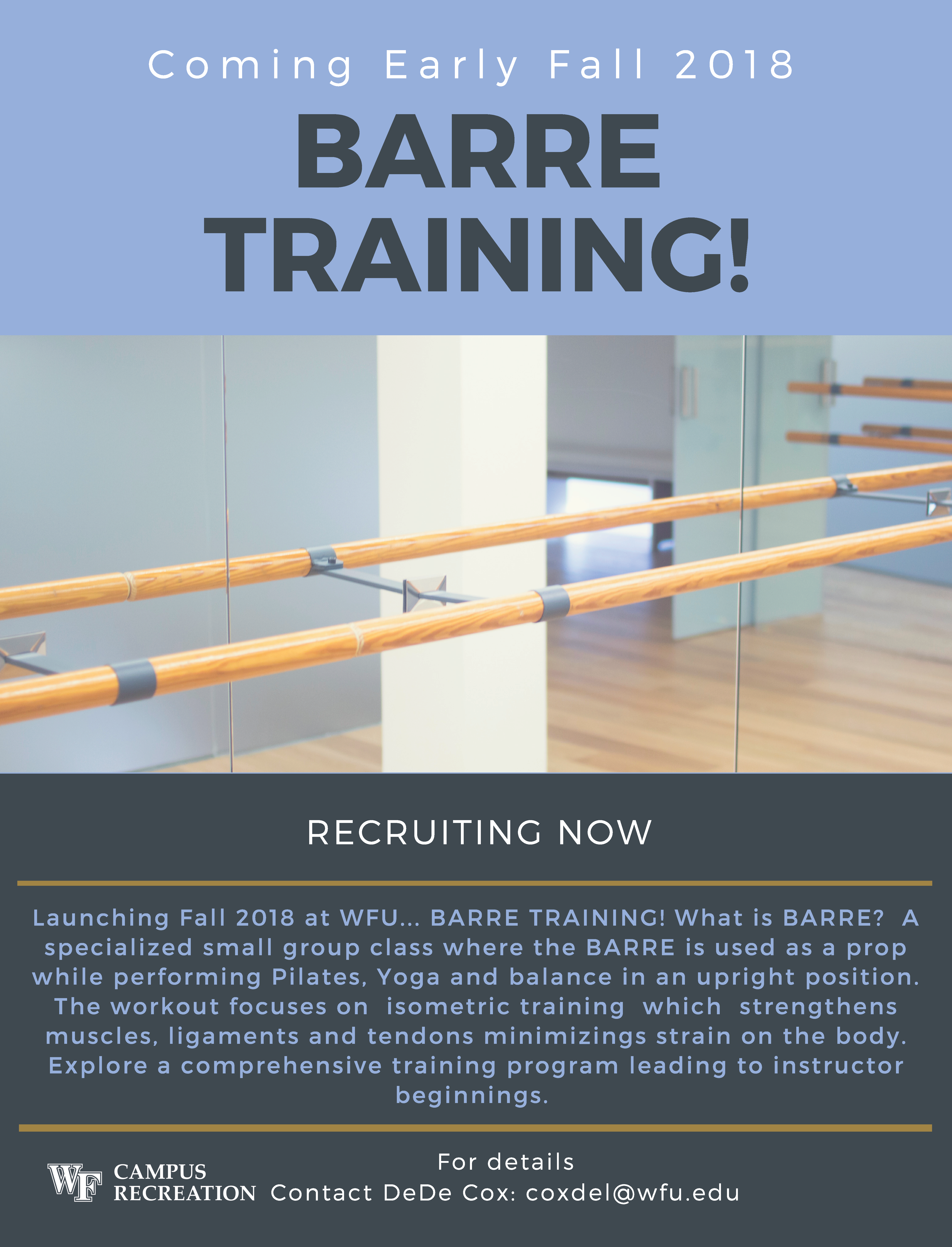 Campus Rec Barre Training Coming 2018