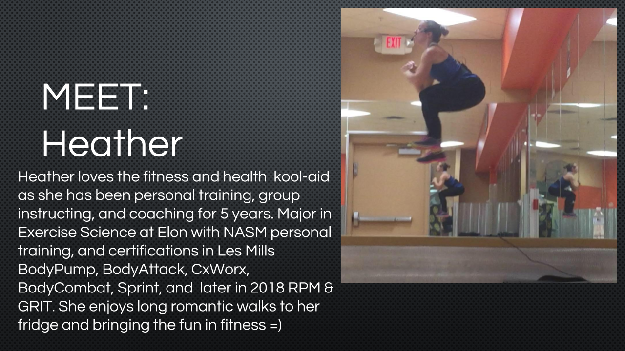 Bio for Group Fitness Instructor Heather