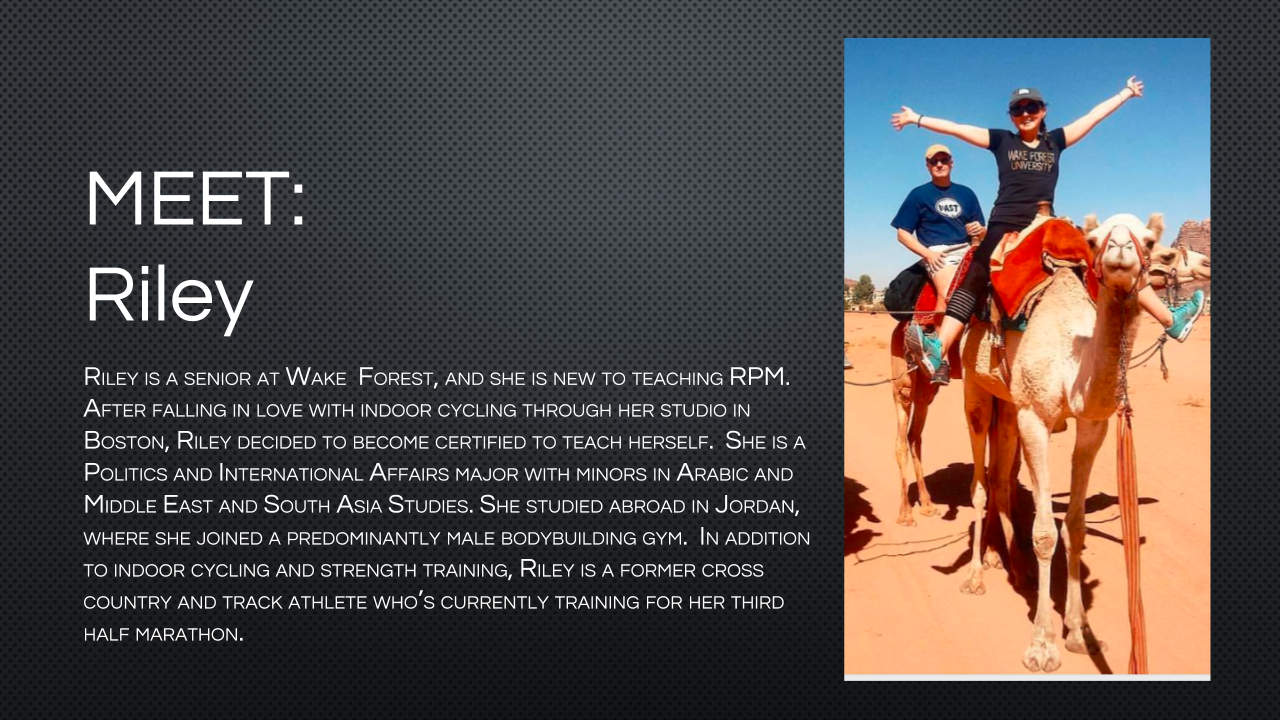 Bio for Group Fitness Instructor Riley