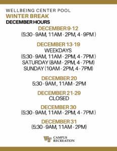 December 19 Pool Hours