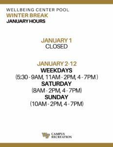 January 20 Pool Hours