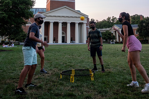 Students play spike ball