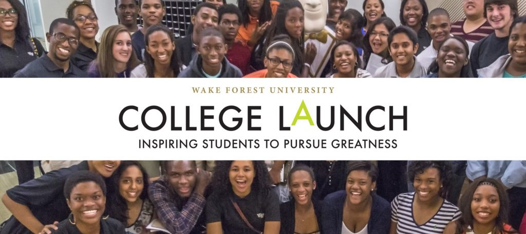 Students smile at the camera in a photograph with the College Launch logo overlaying it.
