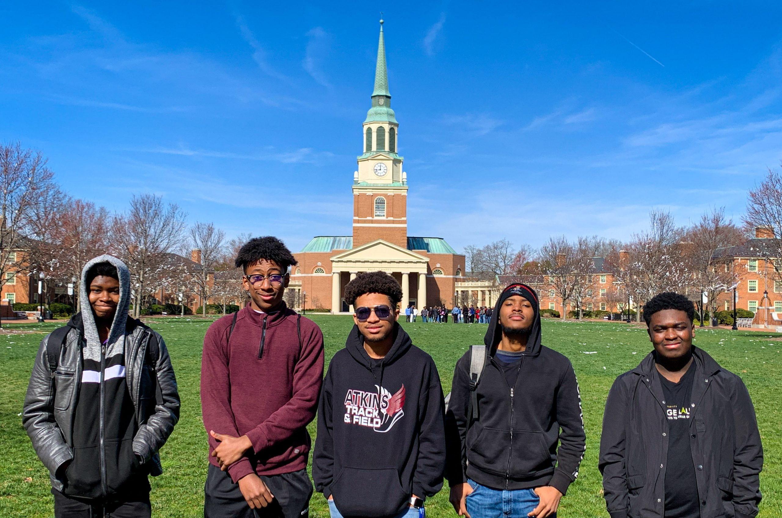 boys in front of Chapel