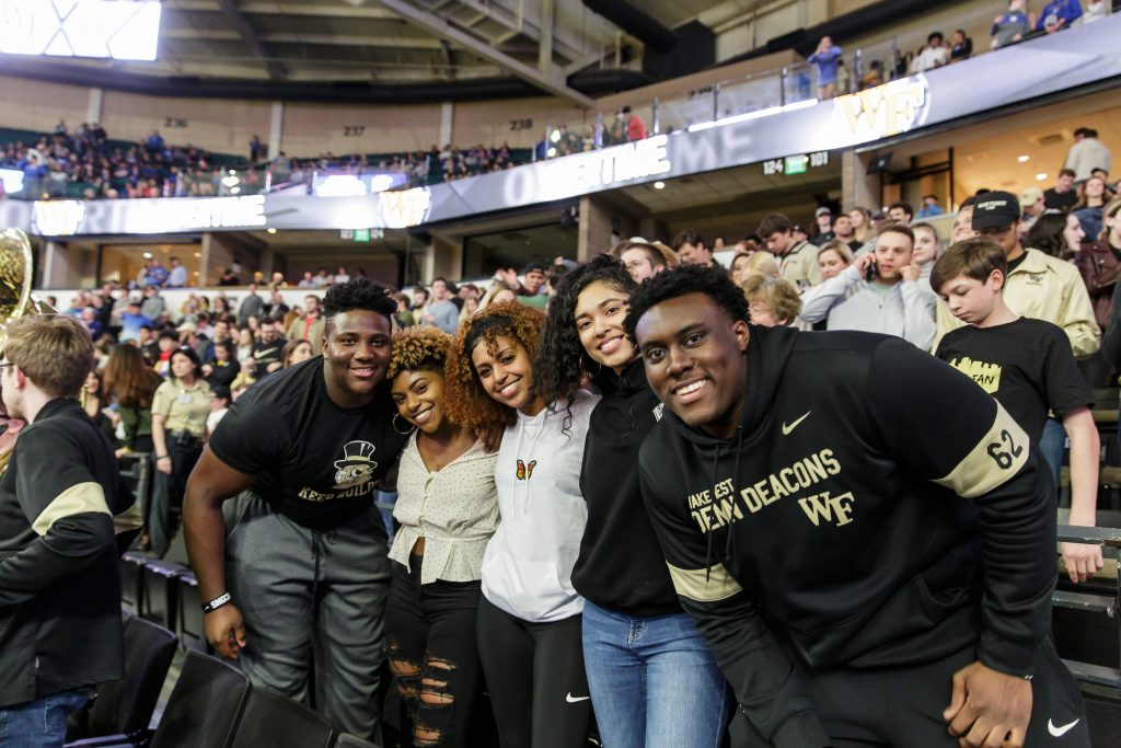 Students at a Wake Forest University Men's Basketball game. (Pre-Covid-19)
