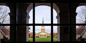 Wait Chapel and Hearn Plaza, on the campus of Wake Forest University