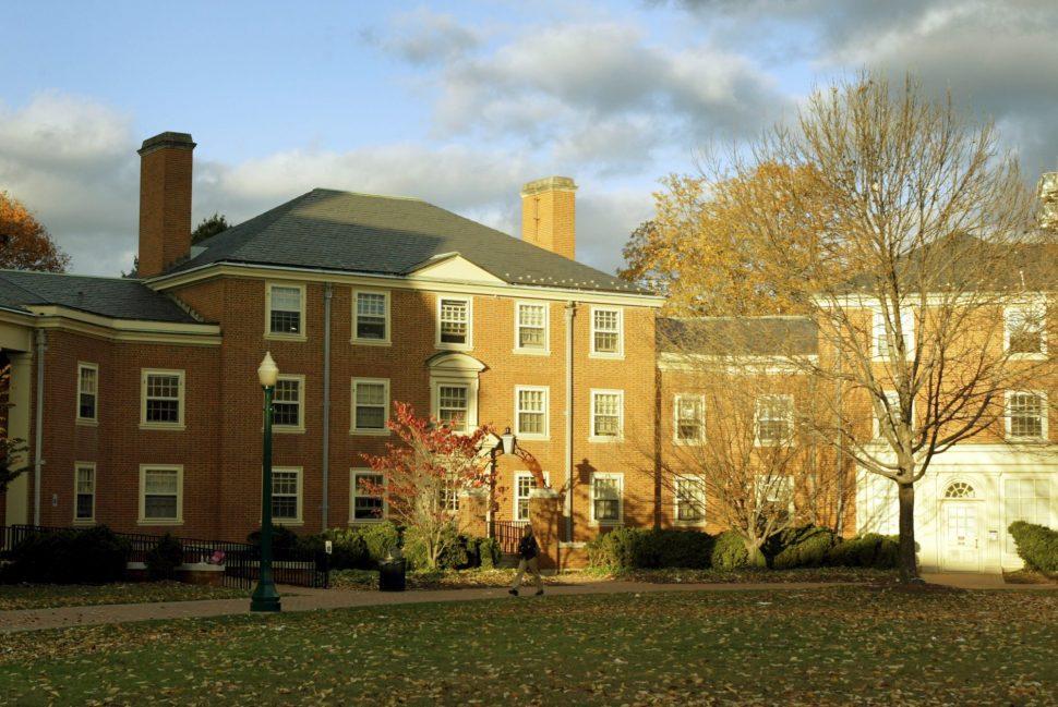 Huffman Residence Hall at sunset